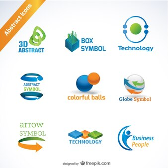 abstract icons for logos in orange blue and green