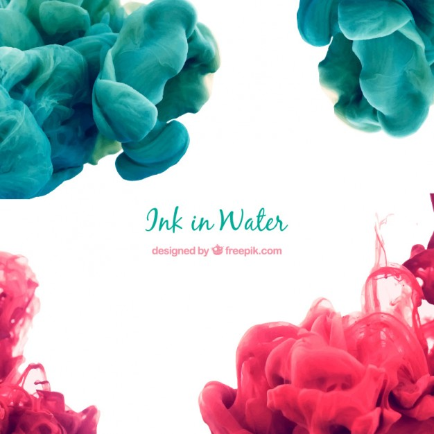 Abstract ink in water background