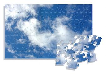 スカイイメージと抽象的なジグソーパズルの背景