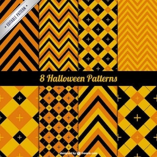 Abstract orange halloween pattern pack