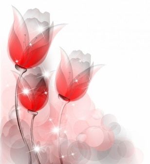 abstract red tulips vector background