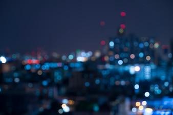 Abstract urban night light bokeh , defocused background