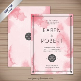 Abstract watercolor wedding invitation