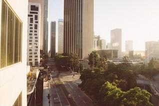 Across high buildings