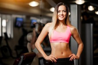 Active aerobics athlete adult background