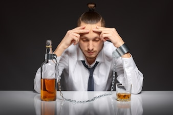 Addicted man thinking about his problems