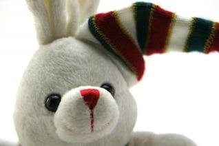 Adorable generic stuffed bunny , whimsical