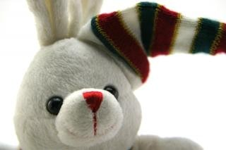 Adorable generic stuffed bunny , whimsical