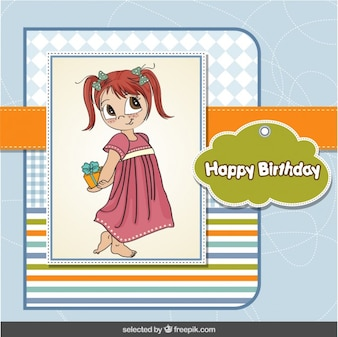 Adorable girl birthday card in scrapbook style