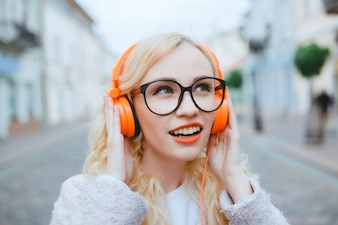 Adult casual caucasian outdoor headphone