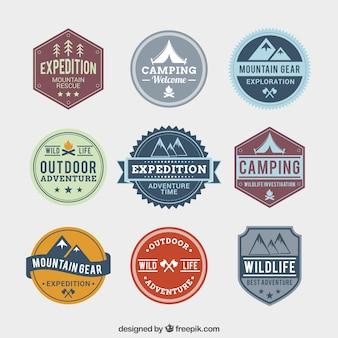 Adventure badges in retro style