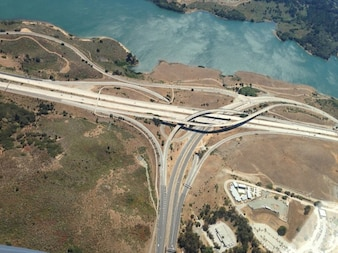 Aerial view of the highway