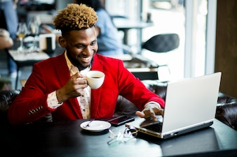 African american man in a cafe