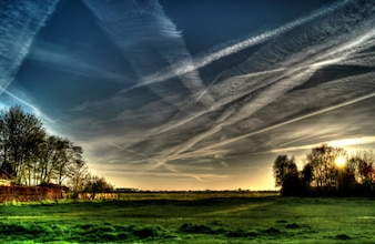 Air trails in the sky