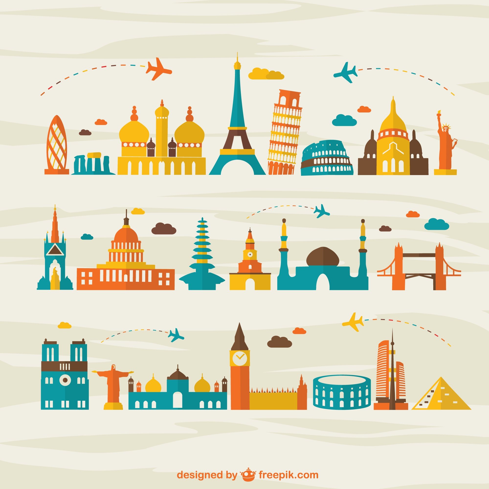 Air travel landmark tourism vector