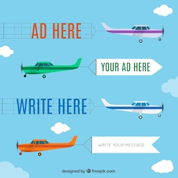 Airplane advertisement cartoon set