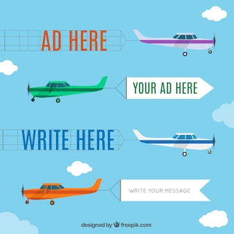 Airplane advertisement cartoon set