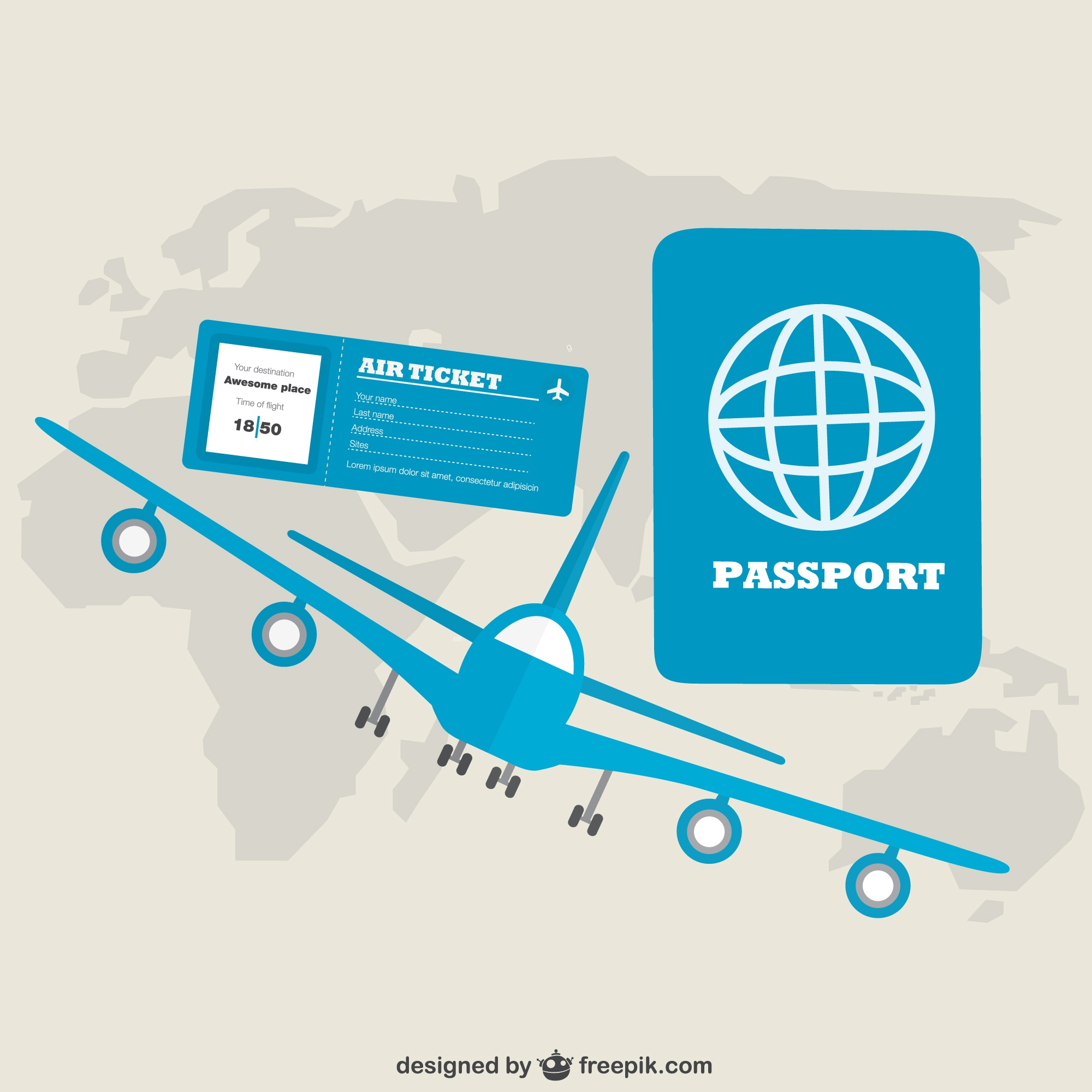 Airplane travel vector design free