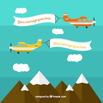 Airplane with banners template