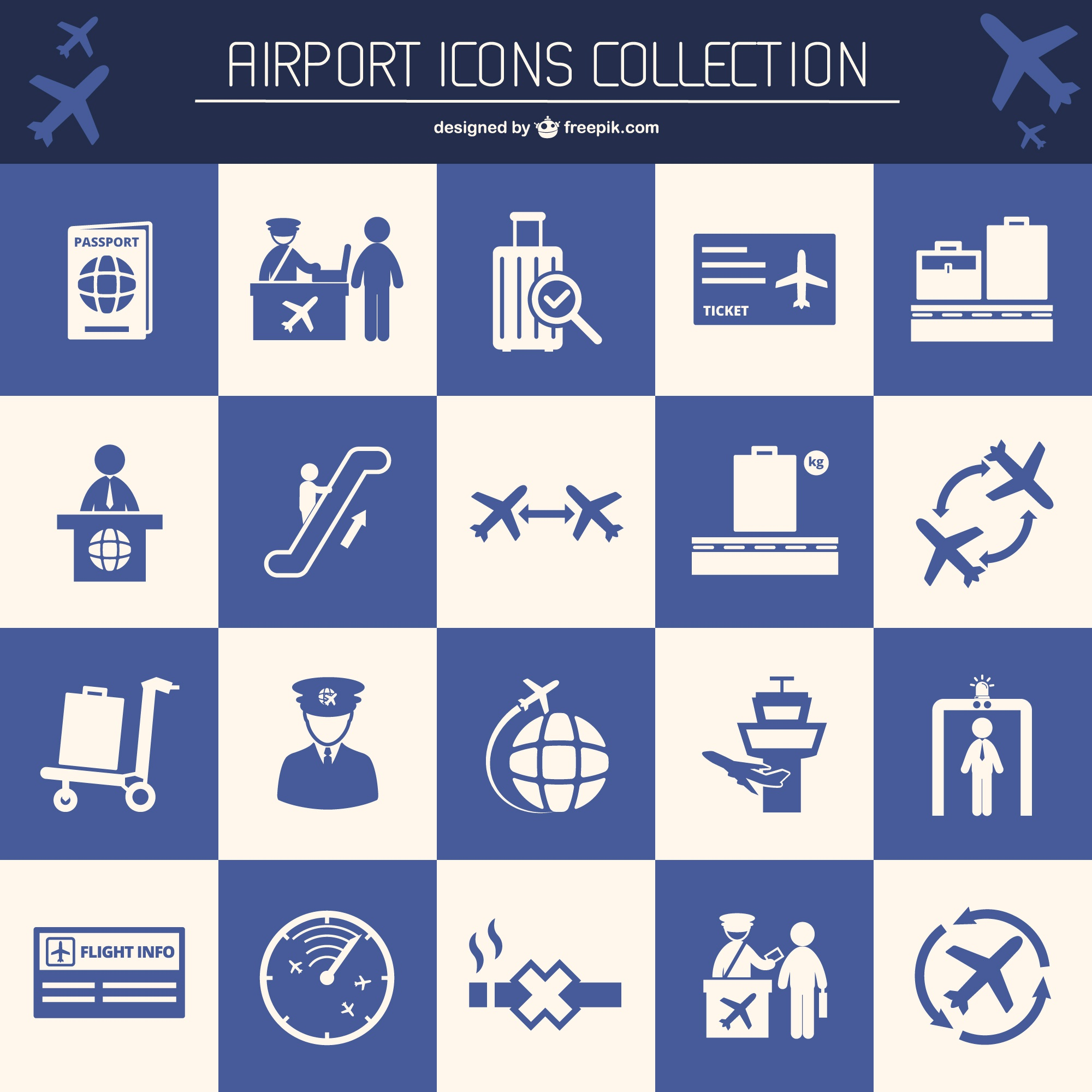 Airport flat vector elements