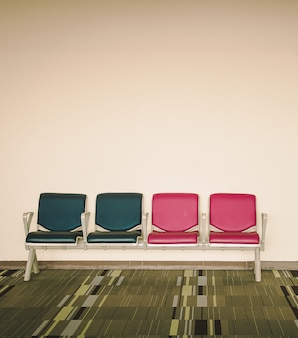 Airport seats at the airport, chair in Vintage and soft focus