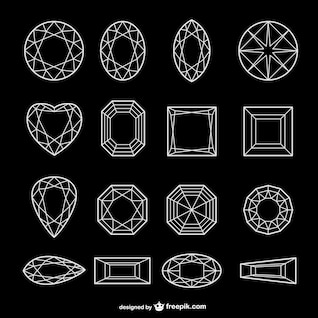 all kinds of diamond line art   vector