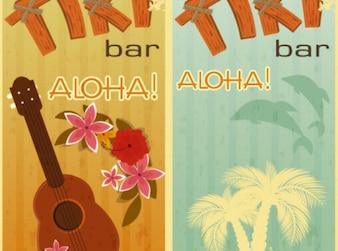 Aloha beach retro holiday background vector set