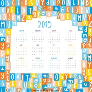 Alphabet letters mix 2015 calendar vector