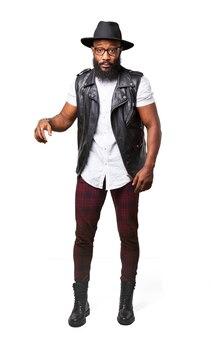 Amazed man with leather waistcoat