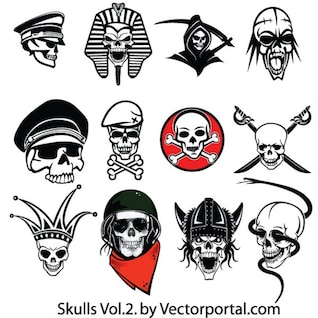 Amazing skulls set vector icons