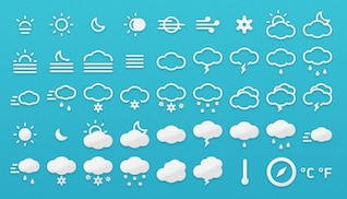Amazing weather icons collection PSD