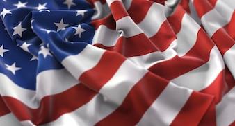 America Flag Ruffled Beautifully Waving Macro Close-Up Shot