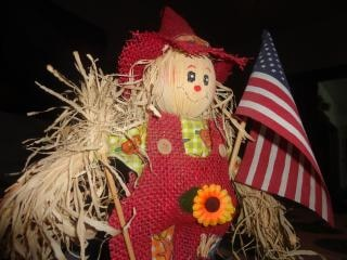 American flag with scarecrow