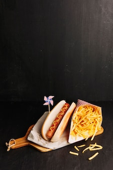 American hot dog and chips