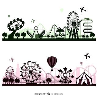 Amusement park vector skylines