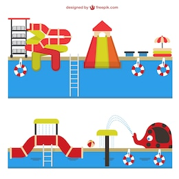 Amusement waterpark vector