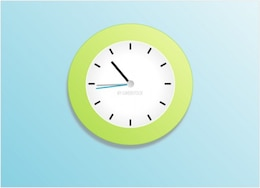 analog clock with green frame