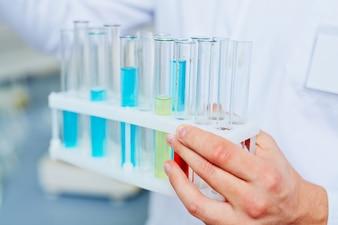Analyzing laboratory clinic man closeup