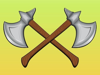 Ancient crossed cut axes vector