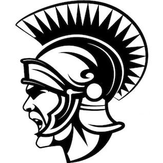 Ancient roman soldier with helmet