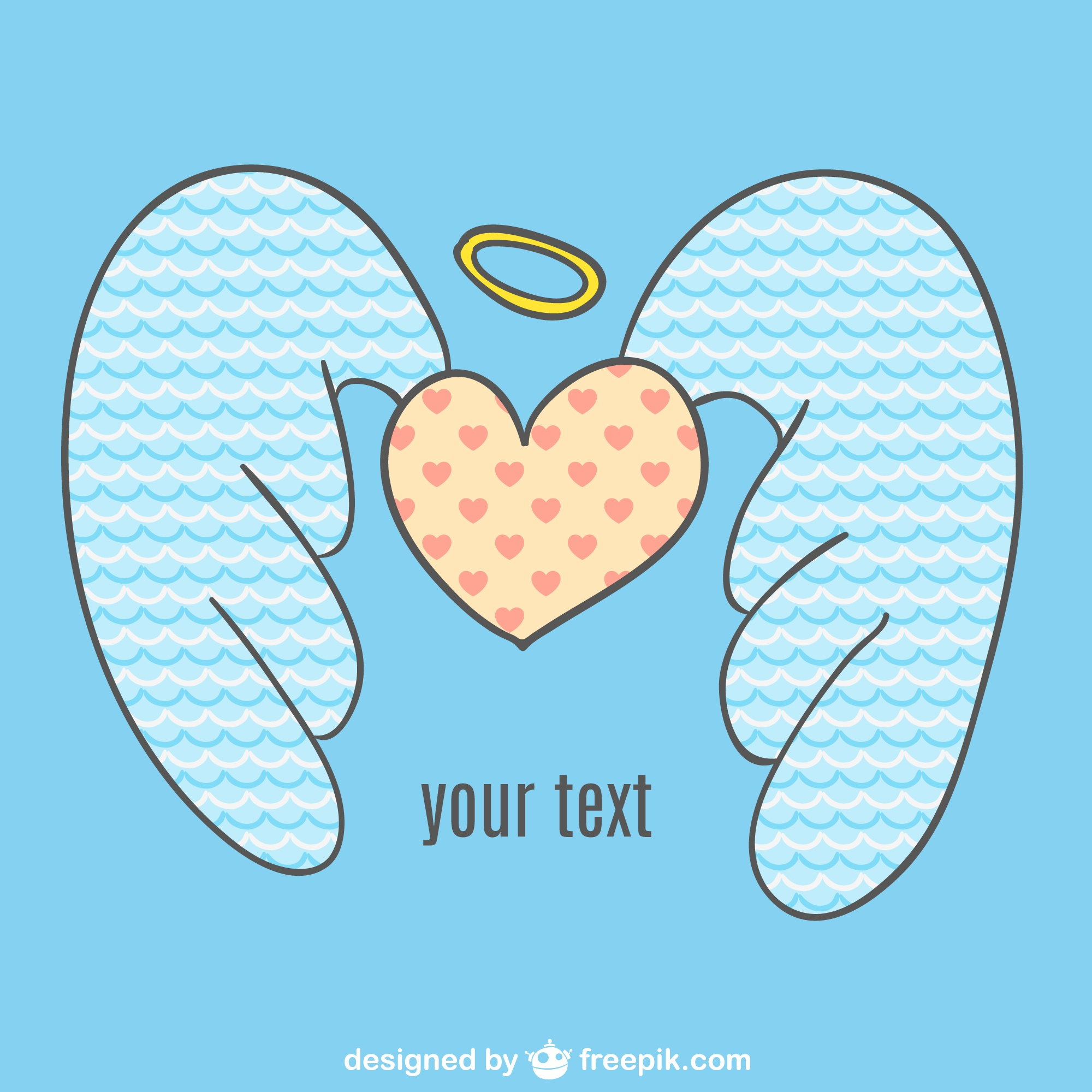 Angel heart vector wings
