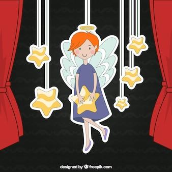 Angel illustration hanging on a rope