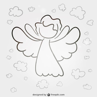 Angel line art vector