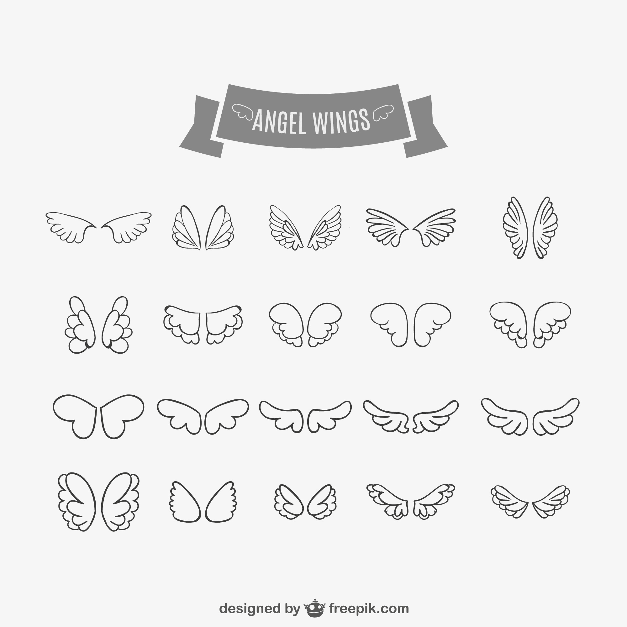 Angel wings doodles set
