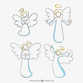 Angels line art vector graphics
