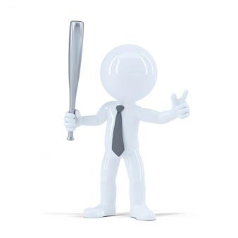 Angry businessman with baseball bat