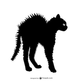 Angry cat vector silhouette