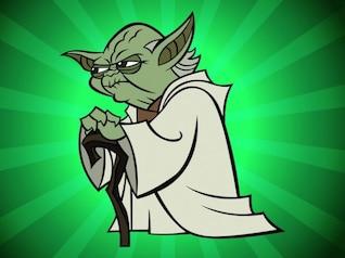 angry old  Yoda cartoon vector