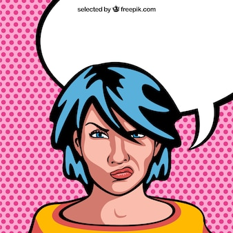 Angry woman cartoon with blank speech bubble