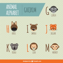 Animal alphabet free vector